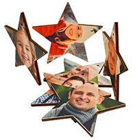 estrella de madera con foto