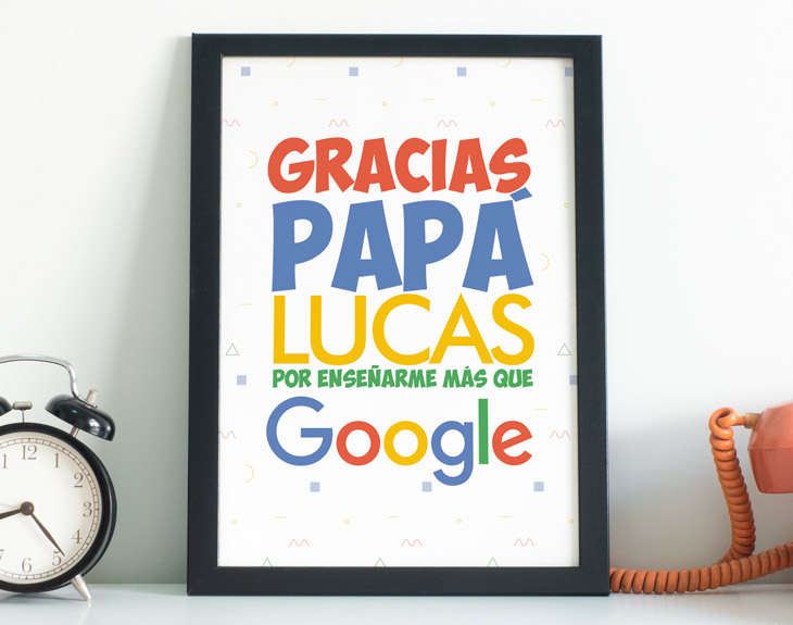 Lámina Personalizada Mi Papá Es Como Google Regalo Original
