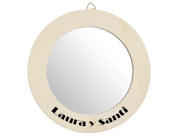 Espejo redondo de madera personalizado for Espejos redondos de madera