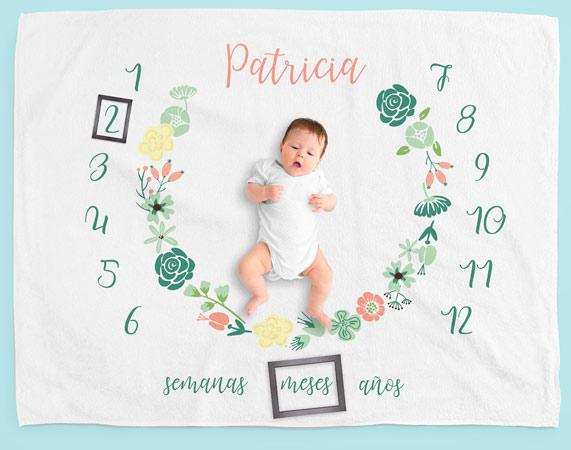 Manta milestone floral personalizada regalo original - Mantas personalizadas con fotos ...